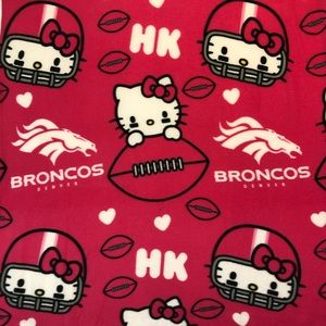 Hello kitty NFL Broncos pink blanket football